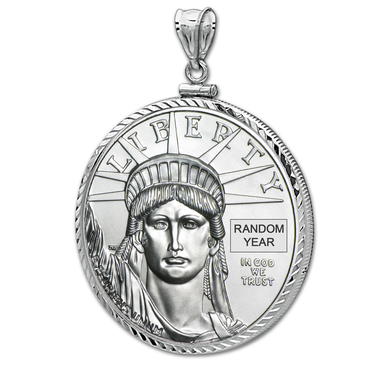 1 oz Platinum Eagle White Gold Pendant (Diamond-ScrewTop Bezel)
